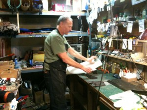 Kelly Timmons at work in his shop