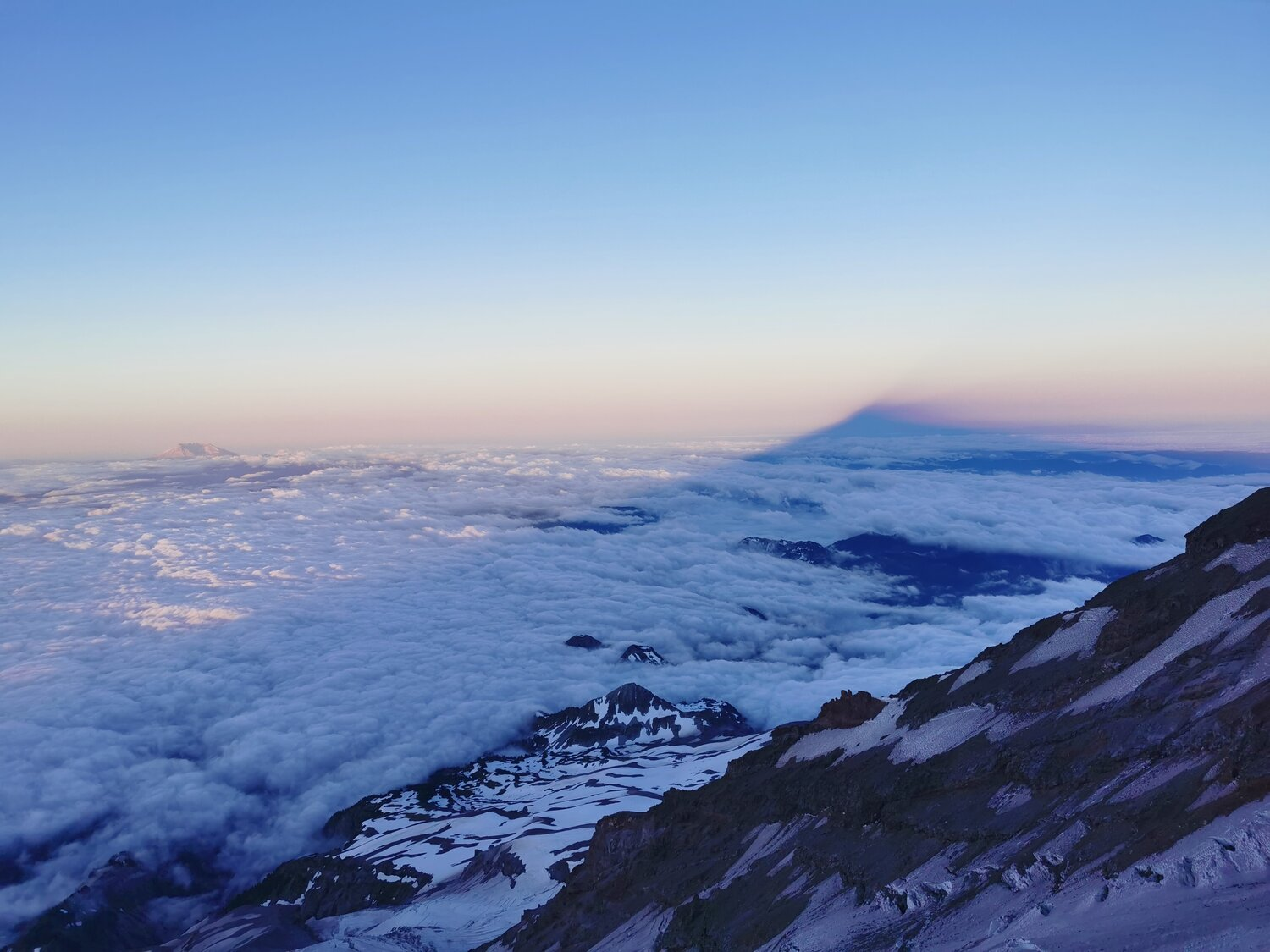 Rainier's shadow at dawn with St. Helens off to the left