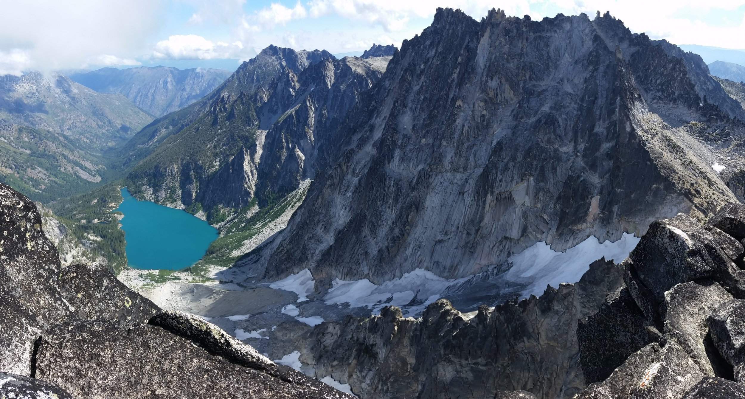 Colchuck Lake, Colchuck Glacier, and Dragontail Peak from the summit of Colchuck Peak.