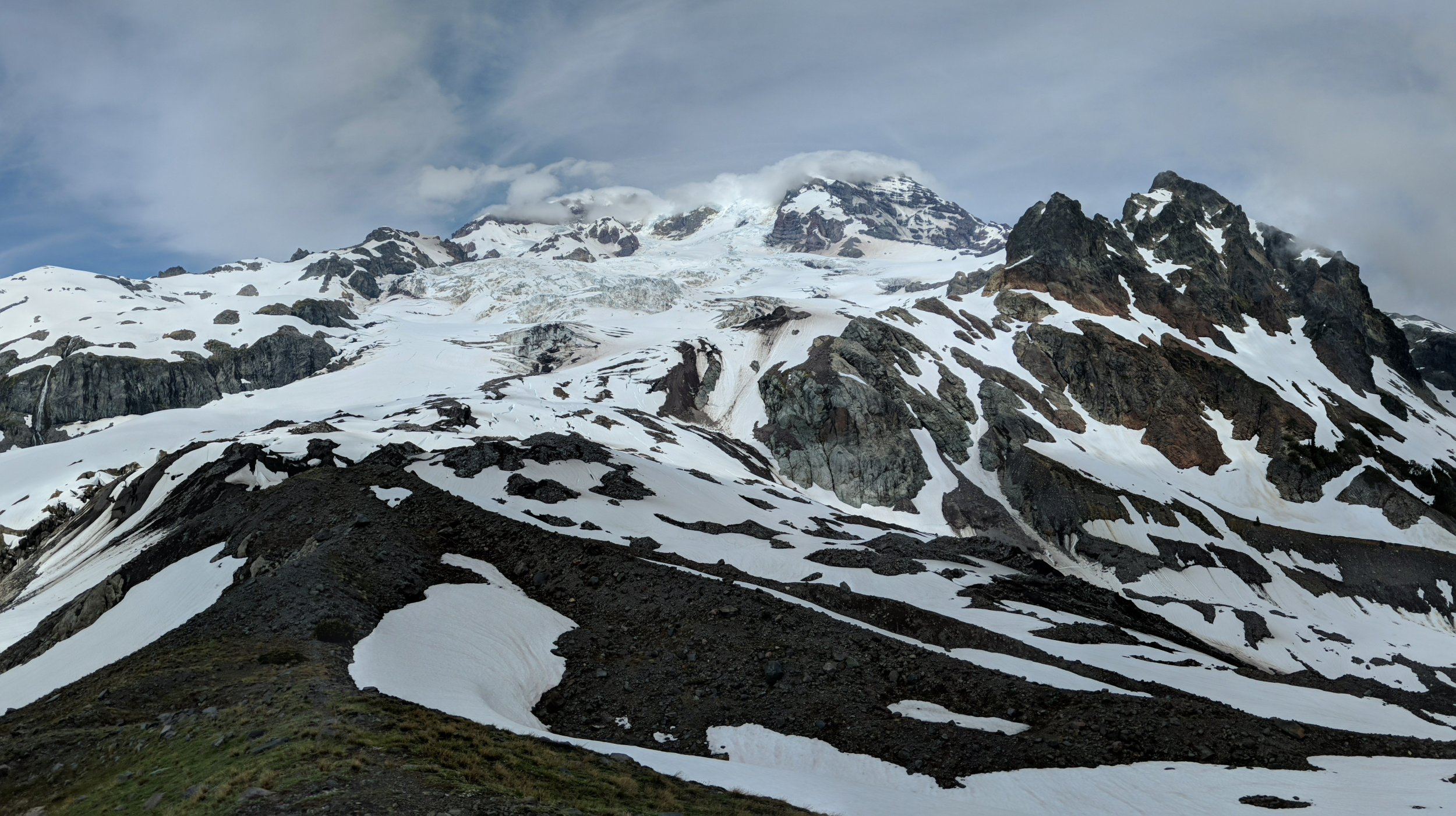 Toe of Tahoma Glacier, Glacier Island on the right.