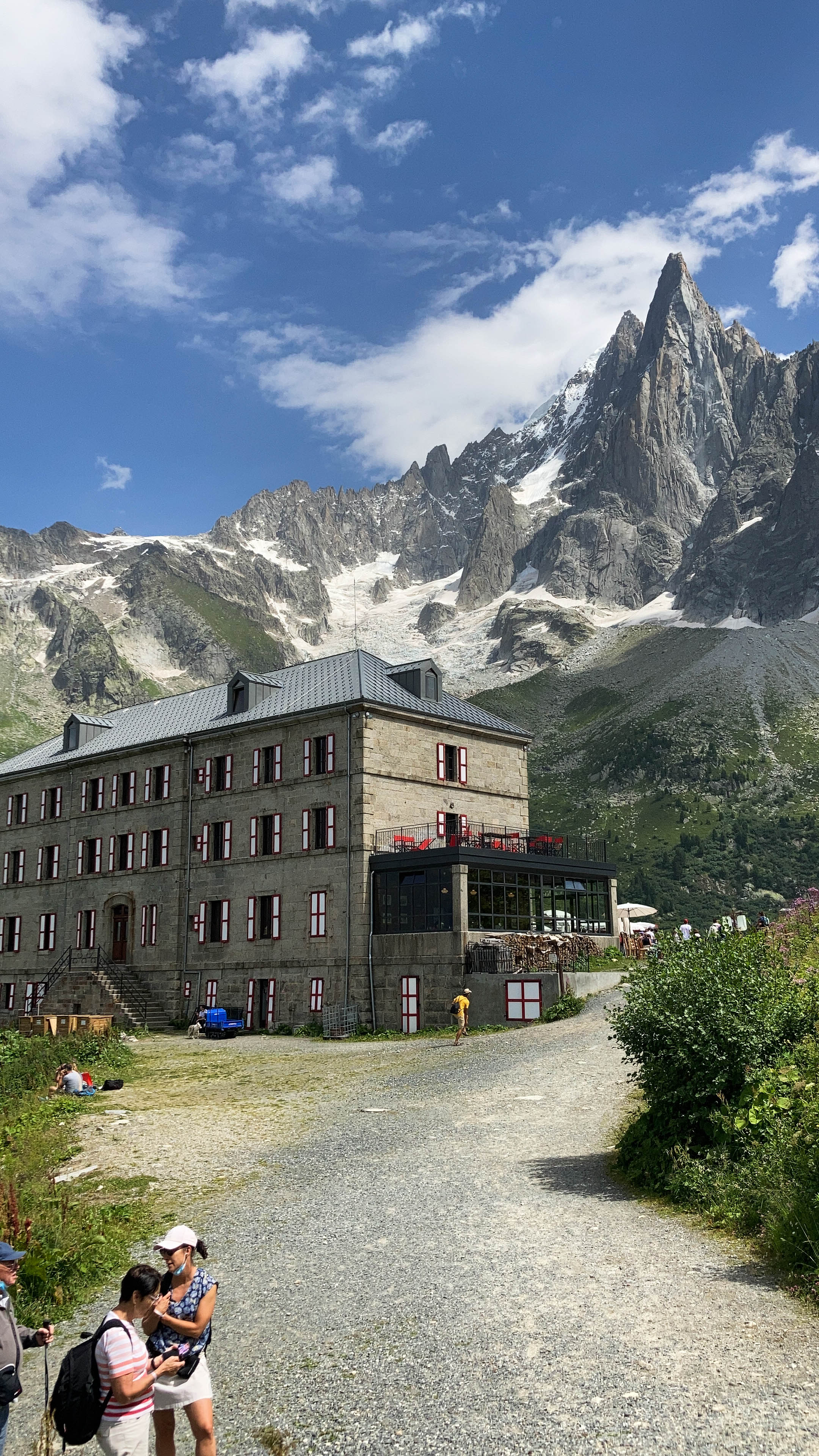 view of the Petit Dru from the Montenvers Hotel