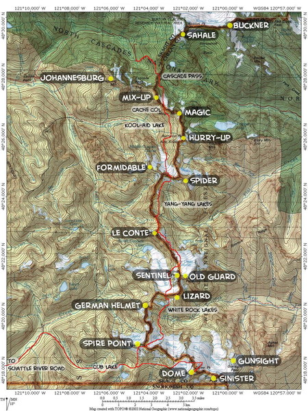 Map of Ptarmigan Traverse, courtesy Steph Abegg