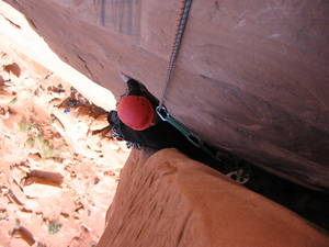 Chinese Eyes (5.10b) in Arches NP, UT.