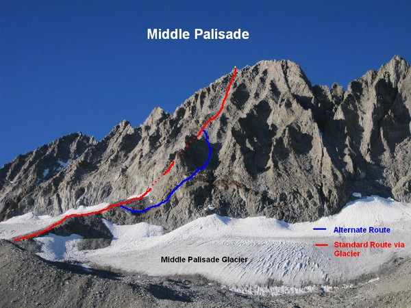 Annotated route up the Northeast Face of Middle Palisade